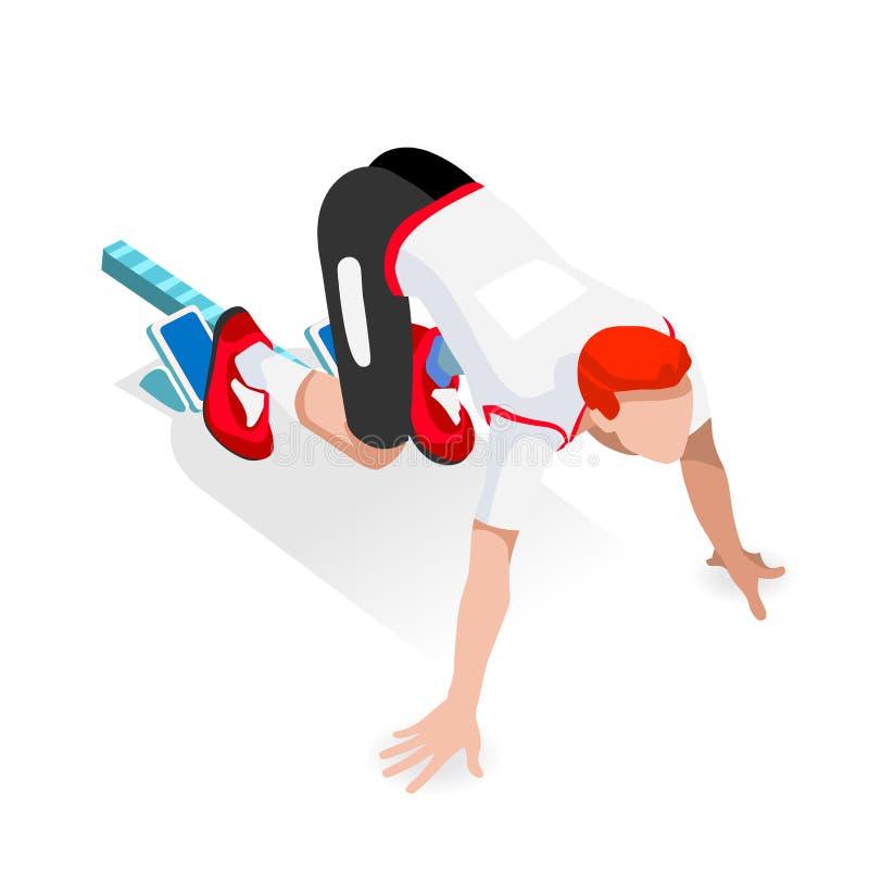Αθλητής δρομέων Sprinter στο σύνολο εικονιδίων θερινών αγώνων Ολυμπιακών Αγώνων έναρξης αγώνων αθλητισμού αρχικών γραμμών τρισδιά απεικόνιση αποθεμάτων