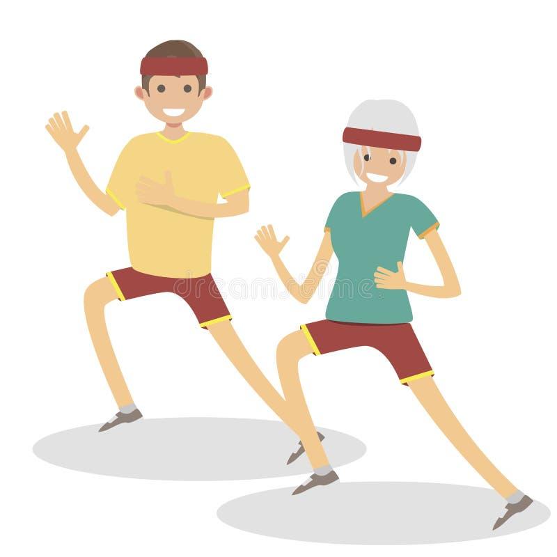 Αθλητής συζύγων και συζύγων για να τρέξει για ένα σκούντημα Αρσενικοί και θηλυκοί δρομείς Διανυσματική επίπεδη απεικόνιση ανθρώπω διανυσματική απεικόνιση