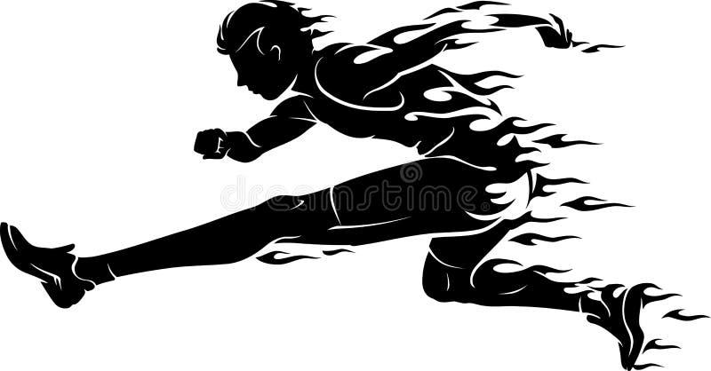 Αθλητής φλογών αγώνων εμποδίων διανυσματική απεικόνιση