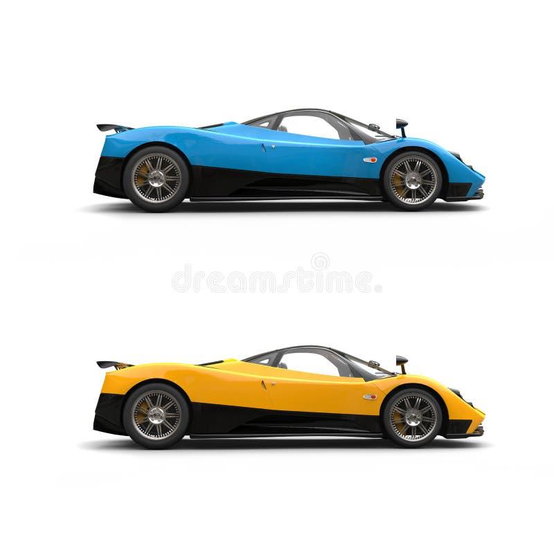 Αθλητικά έξοχα αυτοκίνητα μπλε και καδμίου ουρανού κίτρινα - πλάγια όψη απεικόνιση αποθεμάτων