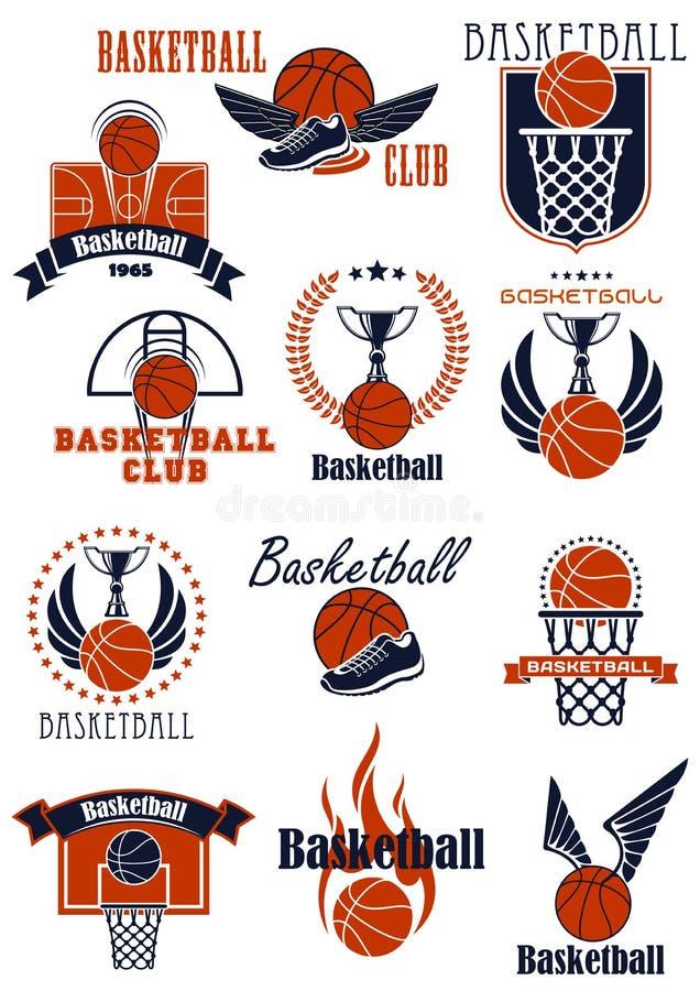 Αθλητικά εικονίδια καλαθοσφαίρισης με τα στοιχεία παιχνιδιών διανυσματική απεικόνιση