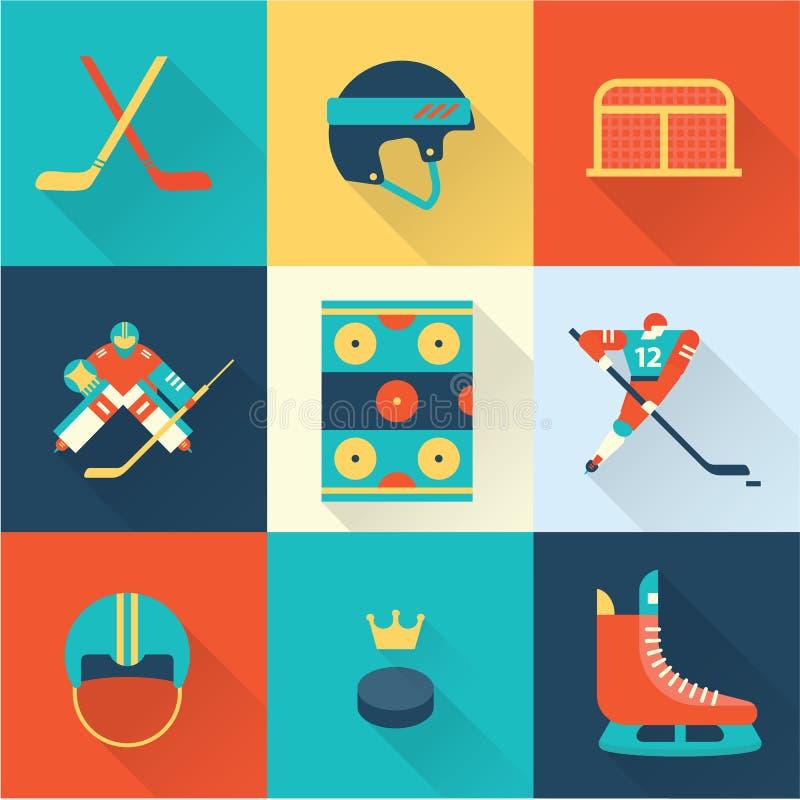 Αθλητικά εικονίδια χόκεϋ διανυσματική απεικόνιση