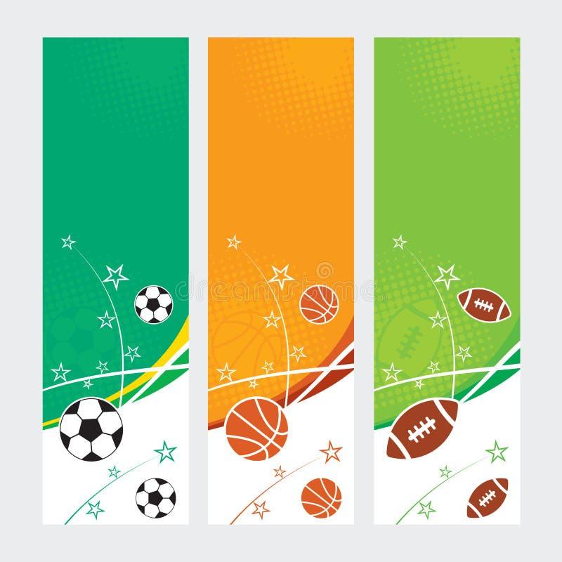 Αθλητικά εμβλήματα - ποδόσφαιρο, ποδόσφαιρο & καλαθοσφαίριση απεικόνιση αποθεμάτων