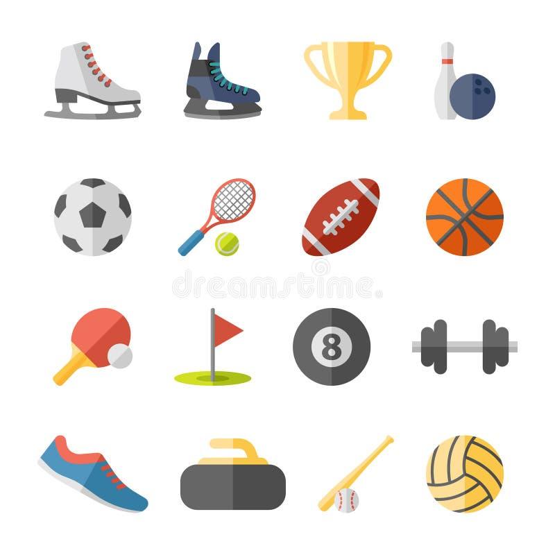 Αθλητικά επίπεδα εικονίδια ελεύθερη απεικόνιση δικαιώματος