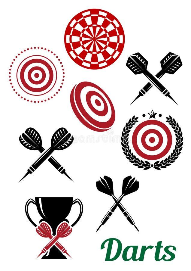 Αθλητικά κόκκινα και μαύρα στοιχεία σχεδίου βελών διανυσματική απεικόνιση