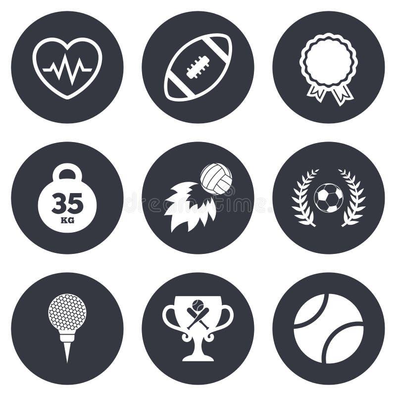Αθλητικά παιχνίδια, εικονίδιο ικανότητας Ποδόσφαιρο, γκολφ διανυσματική απεικόνιση