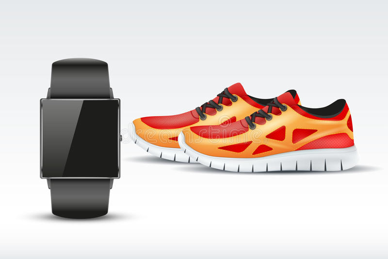 Αθλητικά ψηφιακά έξυπνα ρολόι και πάνινα παπούτσια απεικόνιση αποθεμάτων