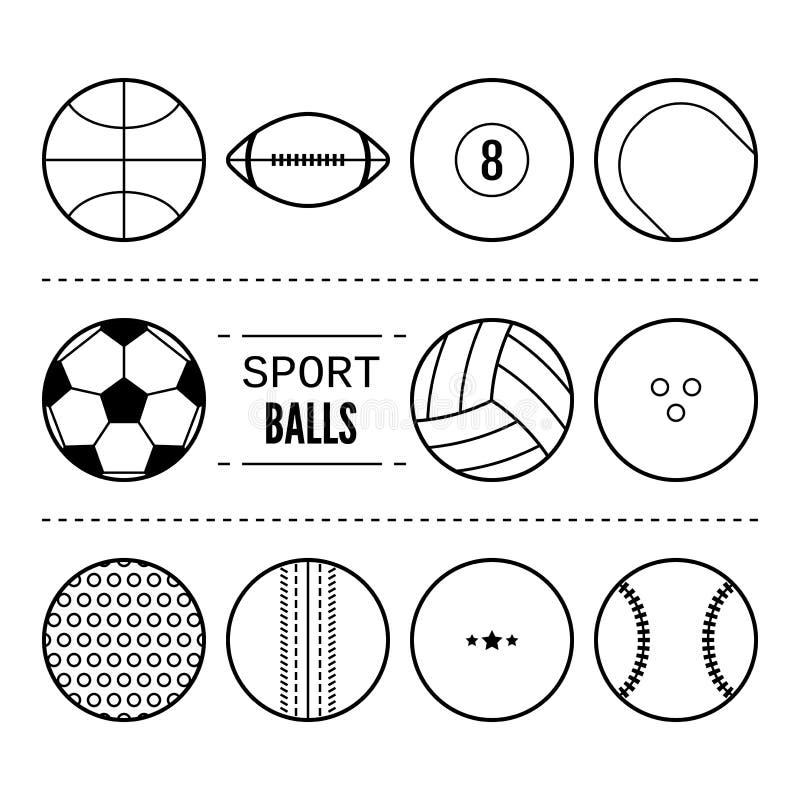 Αθλητικές σφαίρες για το ποδόσφαιρο, καλαθοσφαίριση, αντισφαίριση Γραμμικά γραπτά εικονίδια του εξοπλισμού διάνυσμα ελεύθερη απεικόνιση δικαιώματος