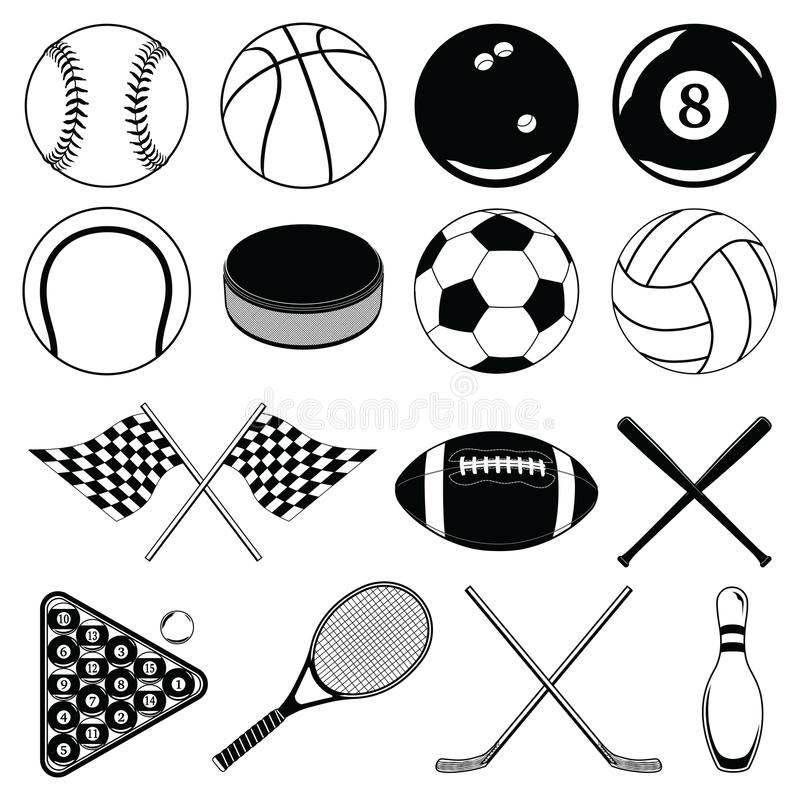 Αθλητικές σφαίρες και άλλα στοιχεία διανυσματική απεικόνιση