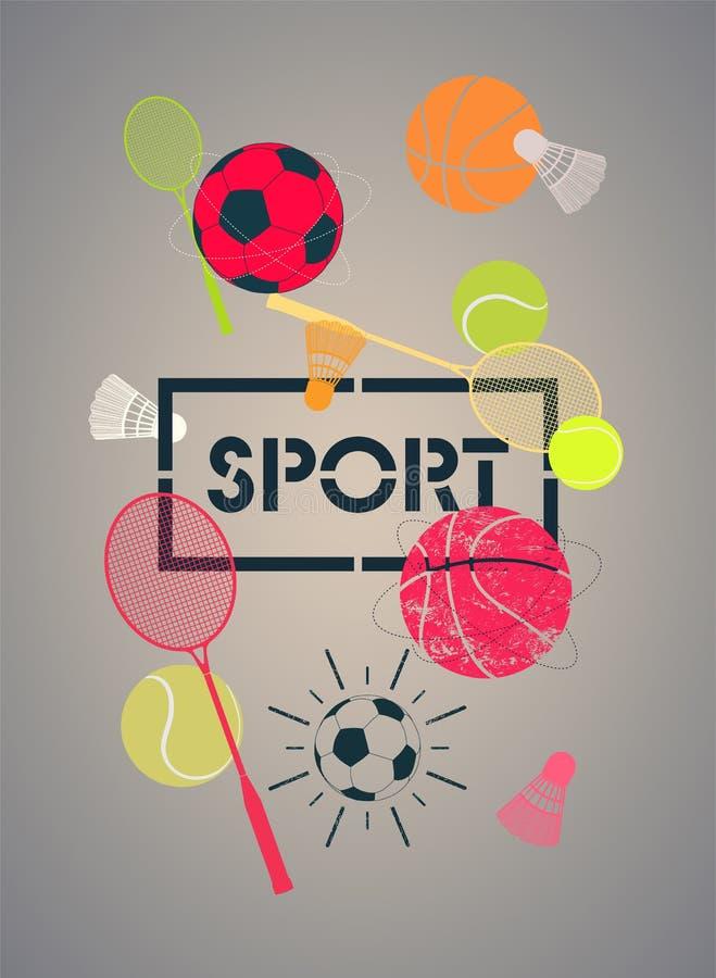 Αθλητική αφίσα με τις καλαθοσφαιρίσεις, ποδόσφαιρα, σφαίρες αντισφαίρισης, ρακέτες και shuttlecocks επίσης corel σύρετε το διάνυσ διανυσματική απεικόνιση