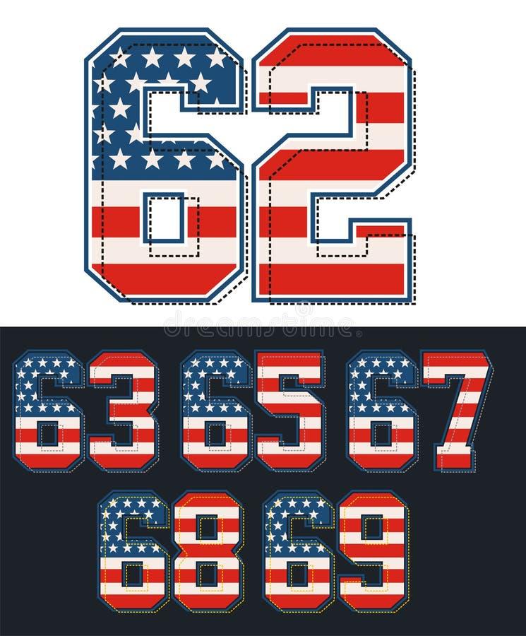Αθλητική καθορισμένη σημαία της Αμερικής αριθμών κατασκευασμένη μπλε διάνυσμα ουρανού ουράνιων τόξων εικόνας σύννεφων διανυσματική απεικόνιση