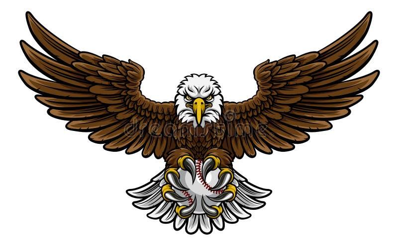 Αθλητική μασκότ μπέιζ-μπώλ αετών διανυσματική απεικόνιση