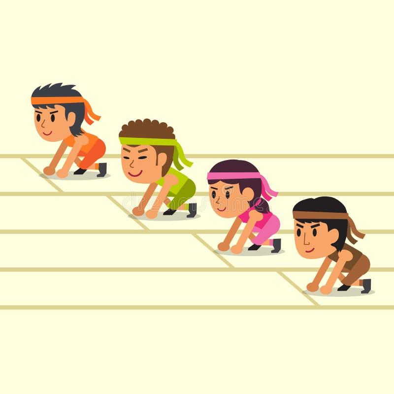 Αθλητικοί άνθρωποι κινούμενων σχεδίων έτοιμοι να τρέξουν διανυσματική απεικόνιση