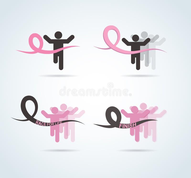 Αθλητικοί άνθρωποι με το τρέξιμο της ρόδινης κορδέλλας, συνειδητοποίηση καρκίνου του μαστού στη γραμμή ψαριών διανυσματική απεικόνιση