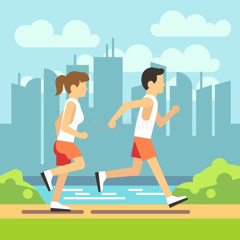 Αθλητικοί άνθρωποι Jogging, αθλητικοί τρέχοντας άνδρας και γυναίκα Διανυσματική έννοια υγειονομικής περίθαλψης απεικόνιση αποθεμάτων