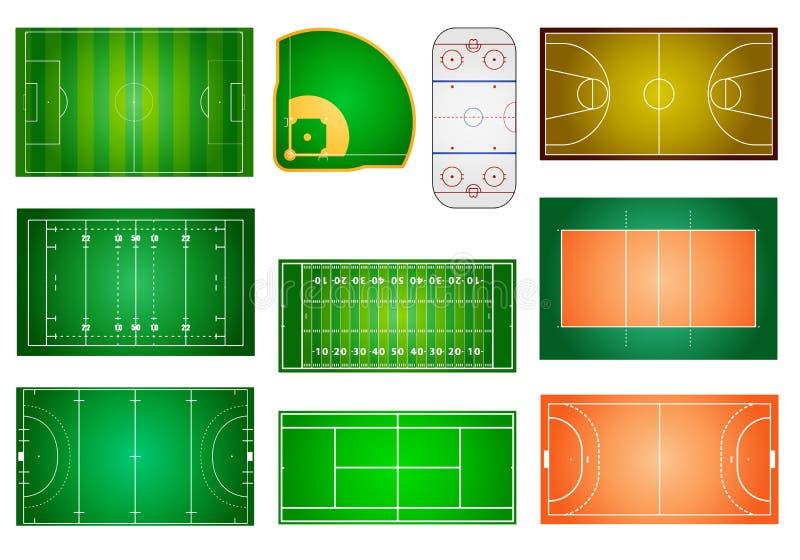 Αθλητικοί τομείς και δικαστήρια ελεύθερη απεικόνιση δικαιώματος