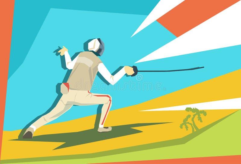 Αθλητικός ανταγωνισμός ξιφομάχων αθλητών περίφραξης απεικόνιση αποθεμάτων