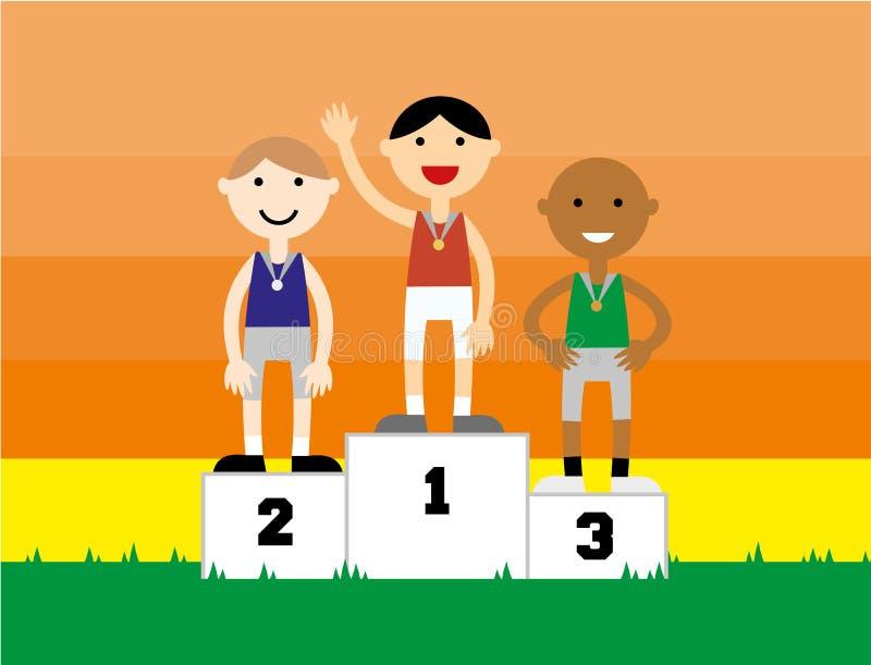 Αθλητικός κάτοχος μετάλλιο που στέκεται σε μια εξέδρα στοκ φωτογραφία
