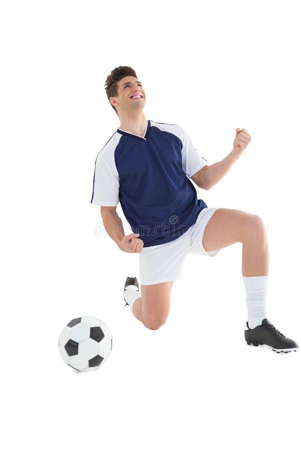 Αθλητικός ποδοσφαιριστής ενθαρρυντικός στοκ φωτογραφίες με δικαίωμα ελεύθερης χρήσης