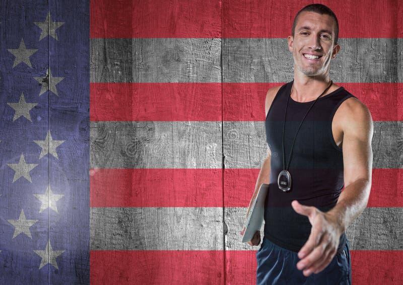 Αθλητικός προπονητής που τινάζει το χέρι του ενάντια στη αμερικανική σημαία διανυσματική απεικόνιση