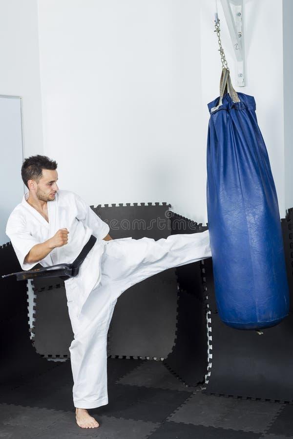 Αθλητικός karate μαχητής που δίνει ένα ισχυρό λάκτισμα ποδιών σε ένα βαρύ β στοκ φωτογραφία με δικαίωμα ελεύθερης χρήσης