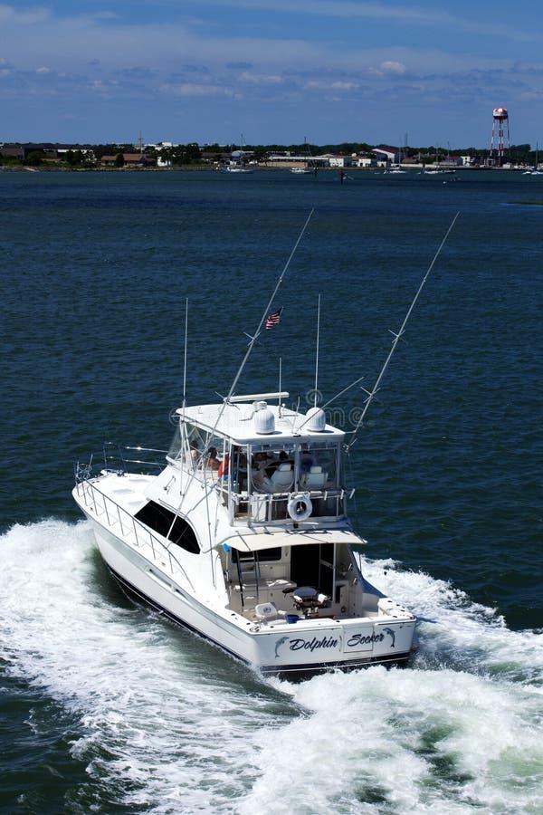 Αθλητικό αλιευτικό σκάφος χαρτών «αναζητητών δελφινιών» σε Wildwood, Νιου Τζέρσεϋ στοκ φωτογραφίες