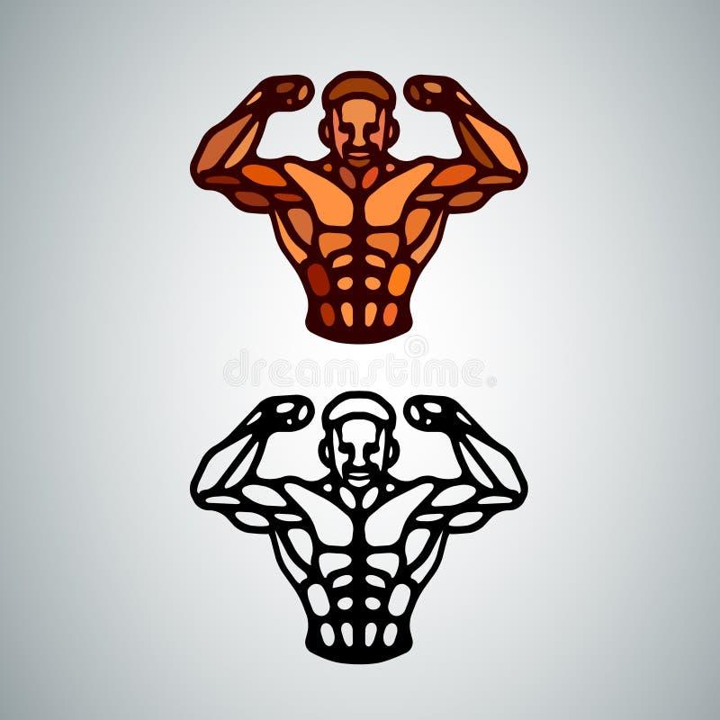 Αθλητικό εικονίδιο κορμών ατόμων Απλή απεικόνιση του κορμού bodybuilder διανυσματική απεικόνιση