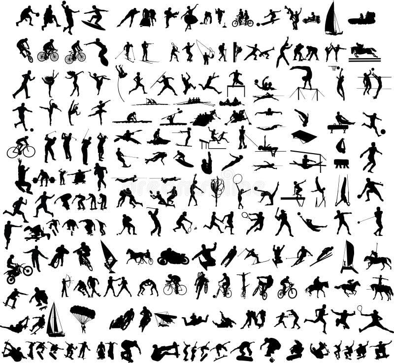 Αθλητικό διάνυσμα 1 σκιαγραφιών απεικόνιση αποθεμάτων