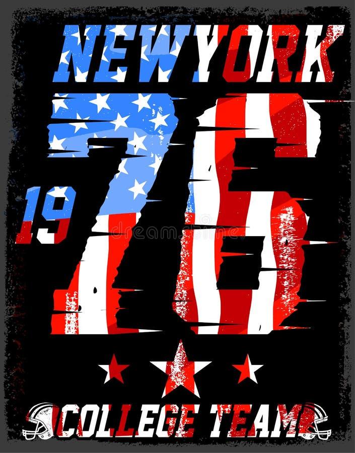 αθλητικό διαμέρισμα Αθλητικά διανυσματική τυπωμένη ύλη και varsity της Νέας Υόρκης Varsity απεικόνιση αποθεμάτων