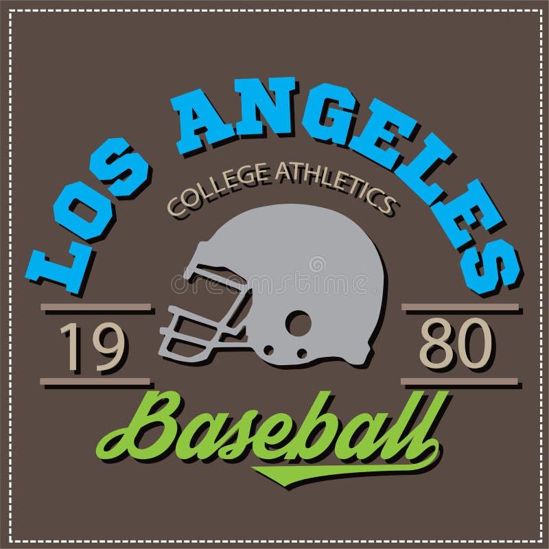 Αθλητικό λογότυπο ποδοσφαίρου μπέιζ-μπώλ varcity κολλεγίων πρωτοπόρων του Λος Άντζελες, έμβλημα, σημάδι διανυσματική απεικόνιση