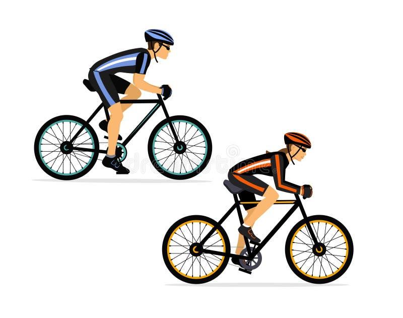 Αθλητικό ποδήλατο ζευγών, ανδρών και γυναικών ποδηλατών οδηγώντας που απομονώνεται ελεύθερη απεικόνιση δικαιώματος