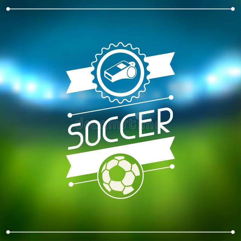 Αθλητικό υπόβαθρο με το στάδιο και τις ετικέτες ποδοσφαίρου διανυσματική απεικόνιση