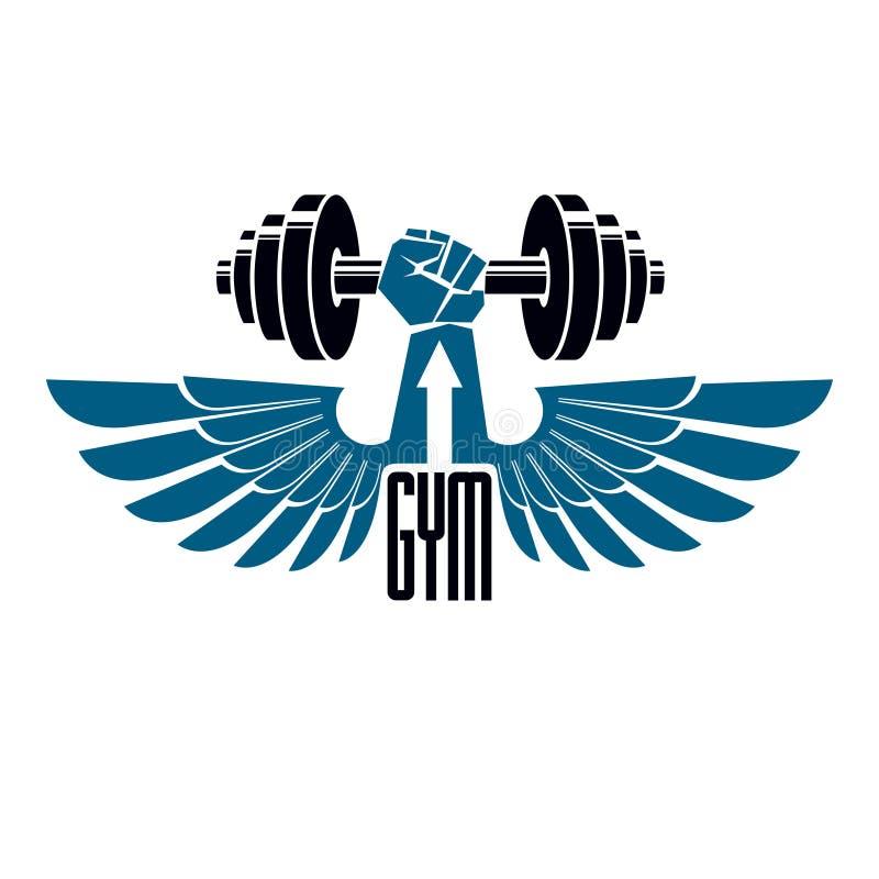 Αθλητικών λεσχών και ικανότητας γυμναστικής λογότυπο, αναδρομικό vecto ύφους ελεύθερη απεικόνιση δικαιώματος