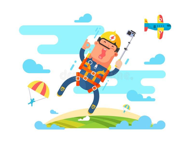 Αθλητισμός ελεύθερων πτώσεων με αλεξίπτωτο επίπεδος ελεύθερη απεικόνιση δικαιώματος
