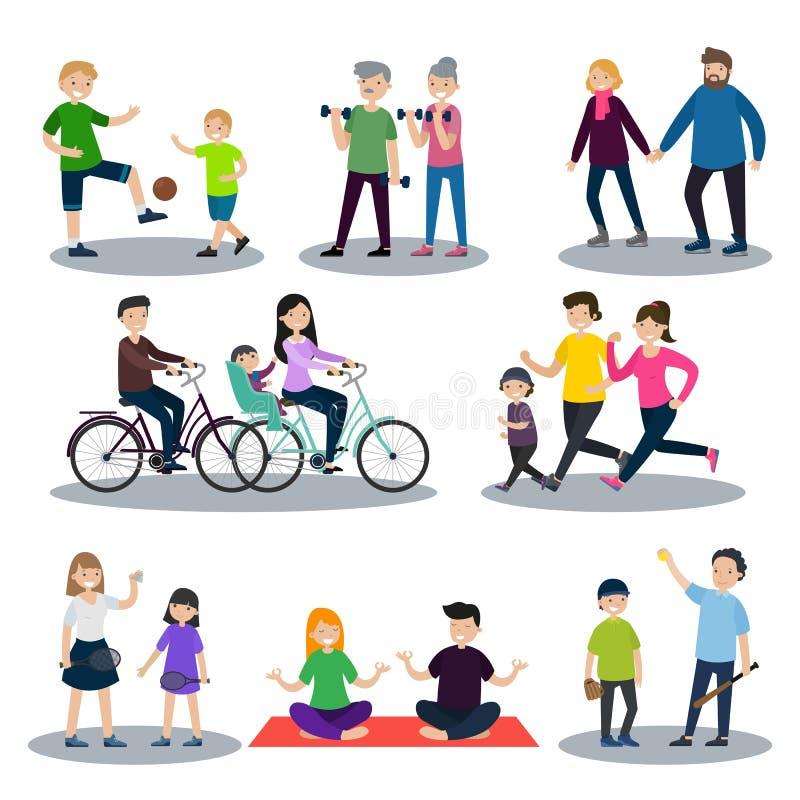 Αθλητισμός και υγιές οικογενειακό σύνολο διανυσματική απεικόνιση