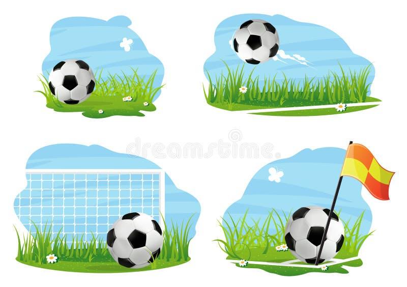 αθλητισμός ποδοσφαίρου παπουτσιών έννοιας κινηματογραφήσεων σε πρώτο πλάνο σφαιρών διανυσματική απεικόνιση