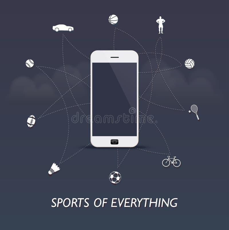 Αθλητισμός όλων - αθλητισμός Διαδίκτυο των πραγμάτων με τον έλεγχο smartphone απεικόνιση αποθεμάτων