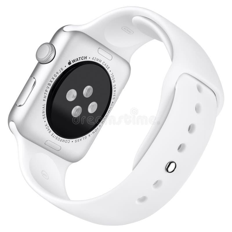 Αθλητισμός 42mm ρολογιών της Apple ασημένια περίπτωση αργιλίου με την άσπρη ζώνη στοκ φωτογραφία με δικαίωμα ελεύθερης χρήσης
