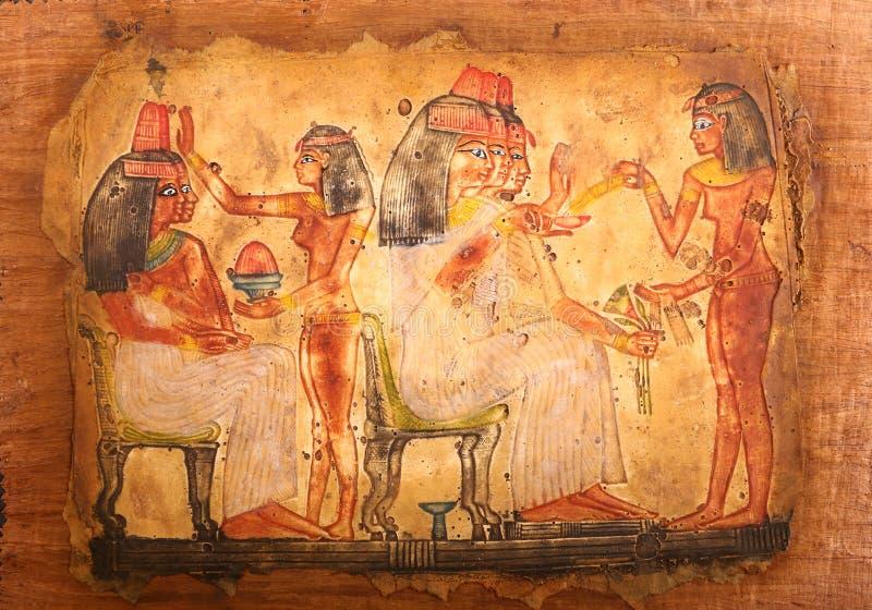 Αιγυπτιακός πάπυρος με παλαιά hieroglyphs απεικόνιση αποθεμάτων
