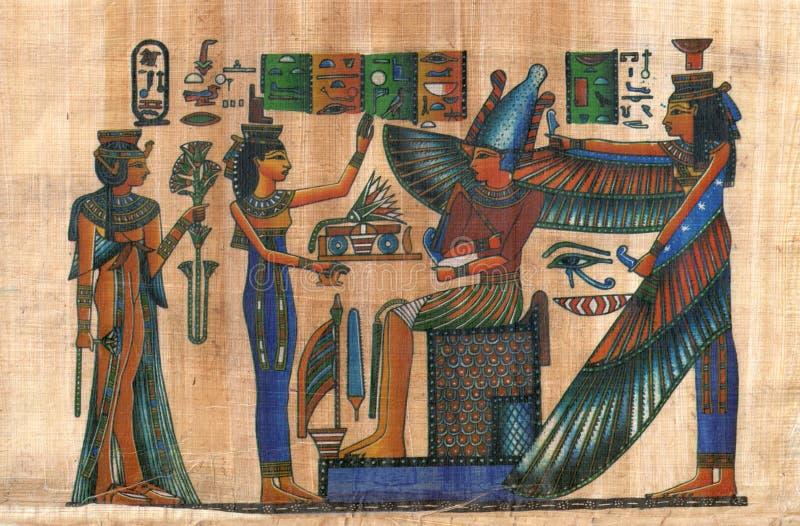 Αιγυπτιακός πάπυρος με τους αριθμούς και τα σημάδια στοκ εικόνες με δικαίωμα ελεύθερης χρήσης