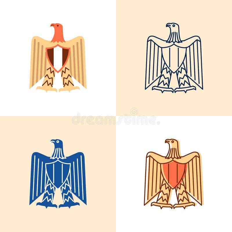 Αιγυπτιακό εικονίδιο αετών που τίθεται στο επίπεδο και ύφος γραμμών ελεύθερη απεικόνιση δικαιώματος