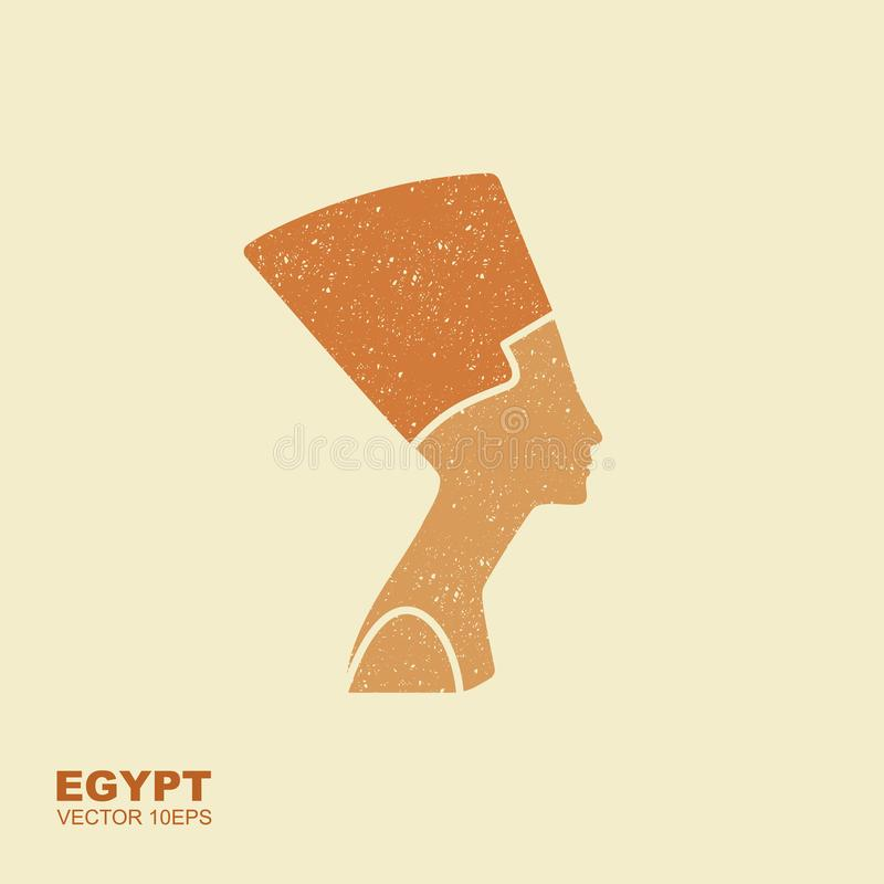 Αιγυπτιακό εικονίδιο σκιαγραφιών Βασίλισσα Nefertiti Διανυσματικό επίπεδο εικονίδιο με τη γρατζουνισμένη επίδραση ελεύθερη απεικόνιση δικαιώματος