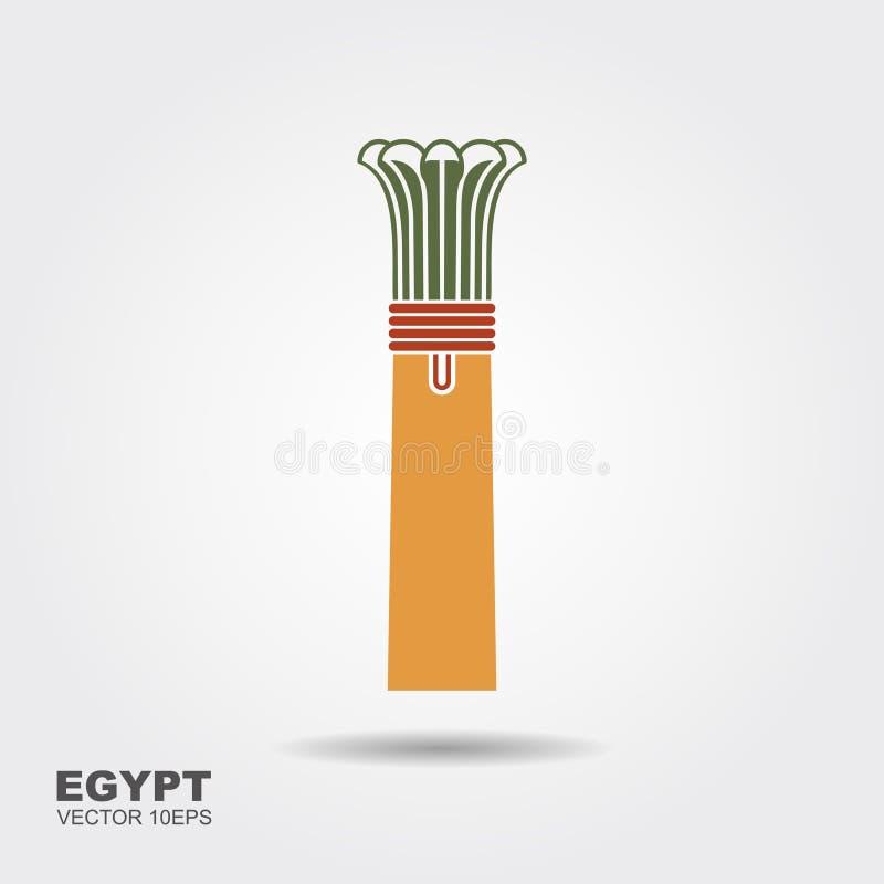 Αιγυπτιακό εικονίδιο στηλών στο ύφος σκιαγραφιών Στοιχείο του αιγυπτιακών πολιτισμού και της αρχιτεκτονικής απεικόνιση αποθεμάτων