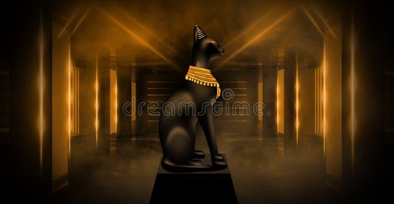 Αιγυπτιακό υπόβαθρο, μια αίθουσα με τις στήλες στο χρυσό φως, οι ακτίνες του φωτός ελεύθερη απεικόνιση δικαιώματος