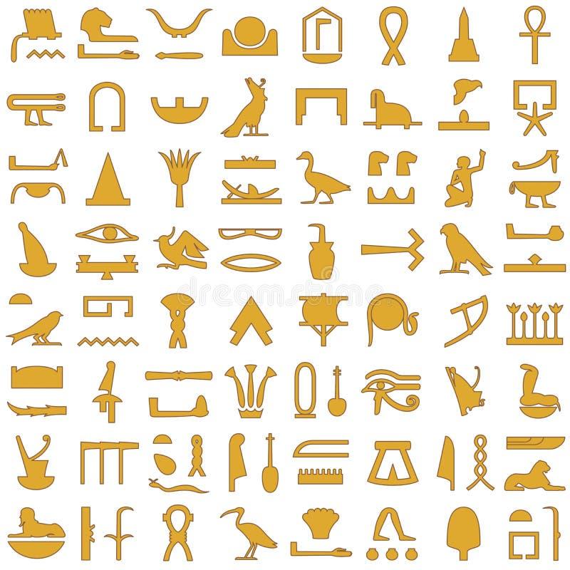 Αιγυπτιακό hieroglyphs διακοσμητικό σύνολο 2 απεικόνιση αποθεμάτων