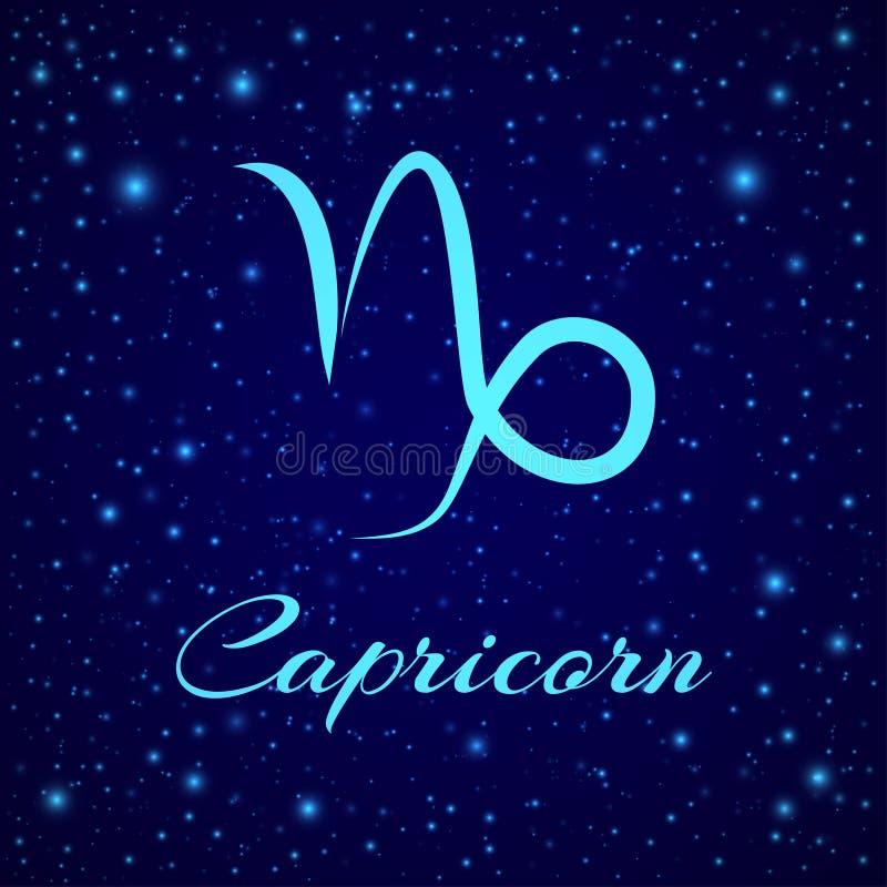 Αιγόκερος Διανυσματικό zodiac σημάδι σε έναν νυχτερινό ουρανό ελεύθερη απεικόνιση δικαιώματος