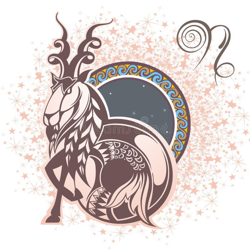 Αιγόκερος σύμβολα δώδεκα σημαδιών σχεδίου έργων τέχνης διάφορο zodiac διανυσματική απεικόνιση