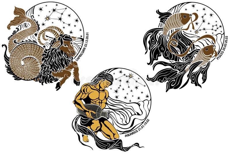 Αιγόκερος, Υδροχόος, Pisces και το zodiac σημάδι απεικόνιση αποθεμάτων