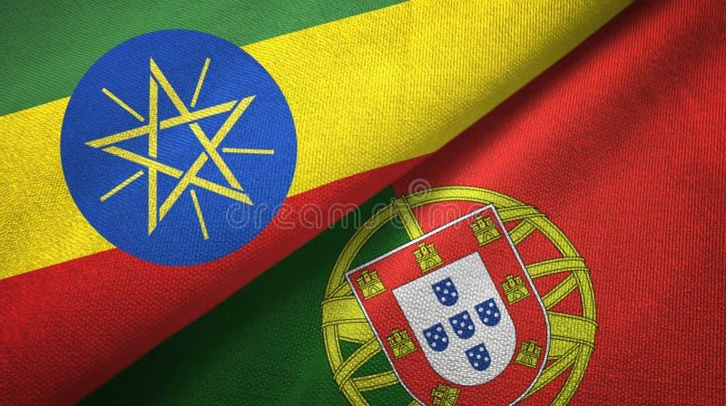 Αιθιοπία και Πορτογαλία δύο υφαντικό ύφασμα σημαιών, σύσταση υφάσματος διανυσματική απεικόνιση