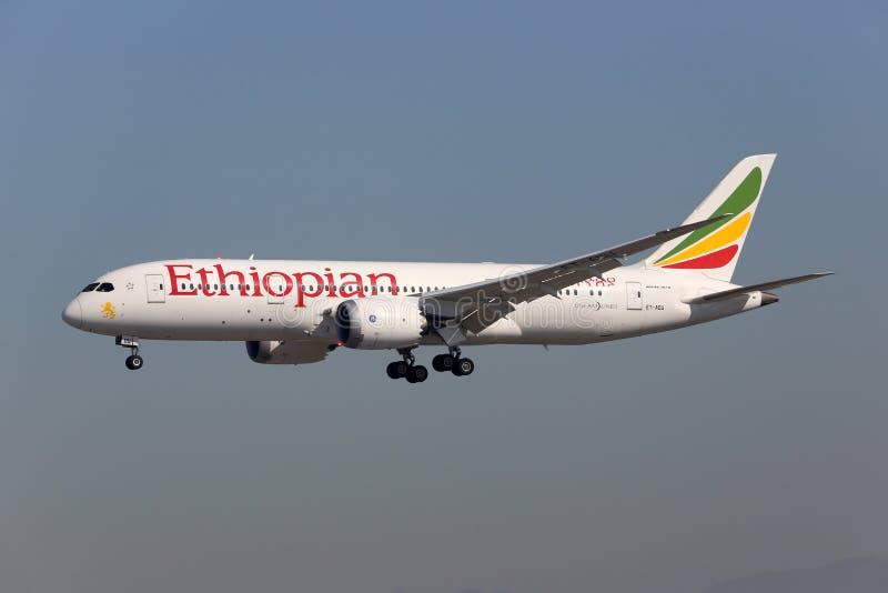 Αιθιοπικές αερογραμμές Boeing 787 αεροπλάνο Dreamliner στοκ εικόνες